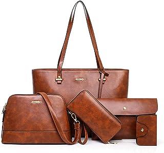 Bolsa Tote de Mujer, Bolsa de Hombro Tipo Mensajero Gran Capacidad para Mujer, 5 en 1 Conjunto de Bolsos de Cuero para Mujer