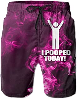 Helidoud I Pooped Today Men`s Athletic Classic Summer Shorts Casual Swim Shorts with Pockets