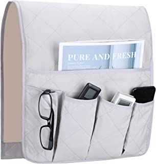 Teniux Non-Slip Couch Sofa Chair Armrest Organizer with 5 Pockets Armchair Caddy for Smart Phone, Book, Magazines, Ipad, TV Remote Control Holder (Grey)
