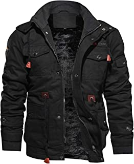 Men's Jacket-Casual Winter Cotton Military Jacket Thicken Hooded Cargo Coat