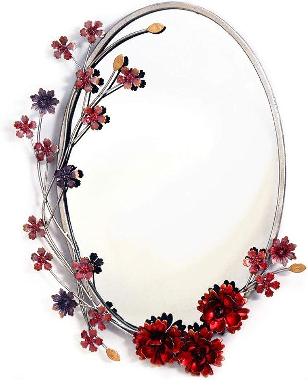 GXFC Wall Mirror - Flower Decorative with Metal Frame Makeup Vanity Mirror for Bathroom, Powder Room, Hallway, Living Room 38  50cm