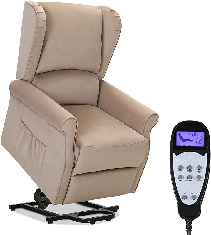 TANGKULA Electric Lift Massage Recliner Chair Home Theater Seating Leisure Lounge Padded Seat Living Room Office Furniture Massage Sofa With Side Pocket And Remote Control Recliner Beige