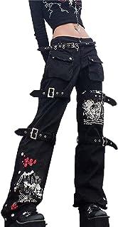 keepwo Womens Lace Up Cargo Trousers Ladies Black Dark Streetwear Jeans Pant Slim Fit Flared Pants (No Belt)