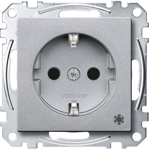 Merten MEG2354-0460 SCHUKO-stopcontact met aanduiding Koelkast, BRS, steekklemmen, aluminium, systeem M