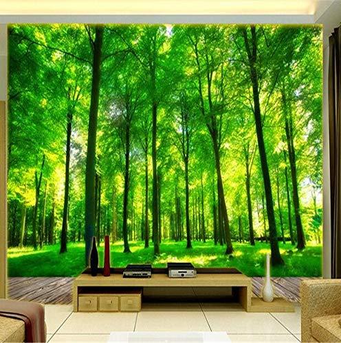 Natuurlijke Groene Landschap 3D Stereo Woonkamer Slaapkamer Slaapbank TV Achtergrond Muurdecoratie Schilderij Groene Bos Fresco's 350×245cm 350×245cm