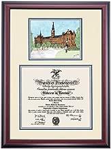OCM Georgetown Hoyas Diploma Frame Ivory Blue Gray Matting Watercolor