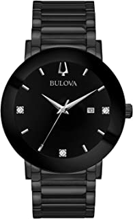 Men's Modern Quartz Watch with Stainless-Steel Strap, Black, 22 (Model: 98D144)