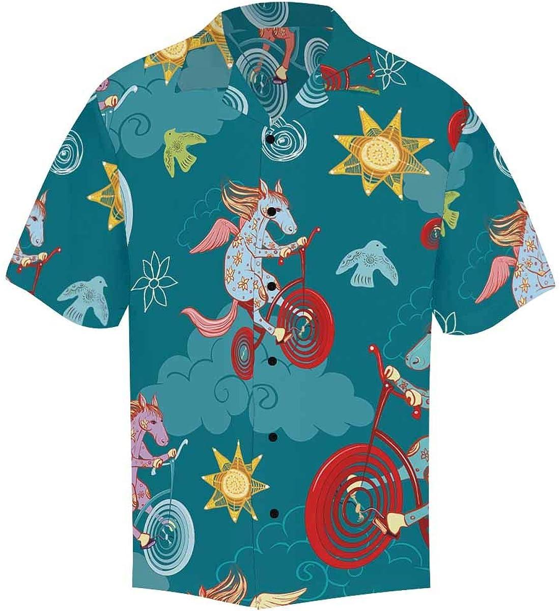 InterestPrint Men's Casual Button Down Short Sleeve Funny Penguins Hawaiian Shirt (S-5XL)