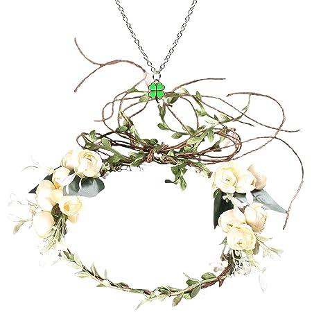 Floral Boy Girl Headband Gold Leaves Baby Garlands Hair Band Rose Flower Wreath