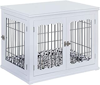unipaws Pet Crate End Table with Cushion, Wooden Wire Dog Kennels with Double Doors, Modern Design Dog House, Medium Crate Indoor Use, Chew-Proof