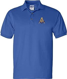 Mason Blue Lodge Polo Golf Shirt Square and Compass