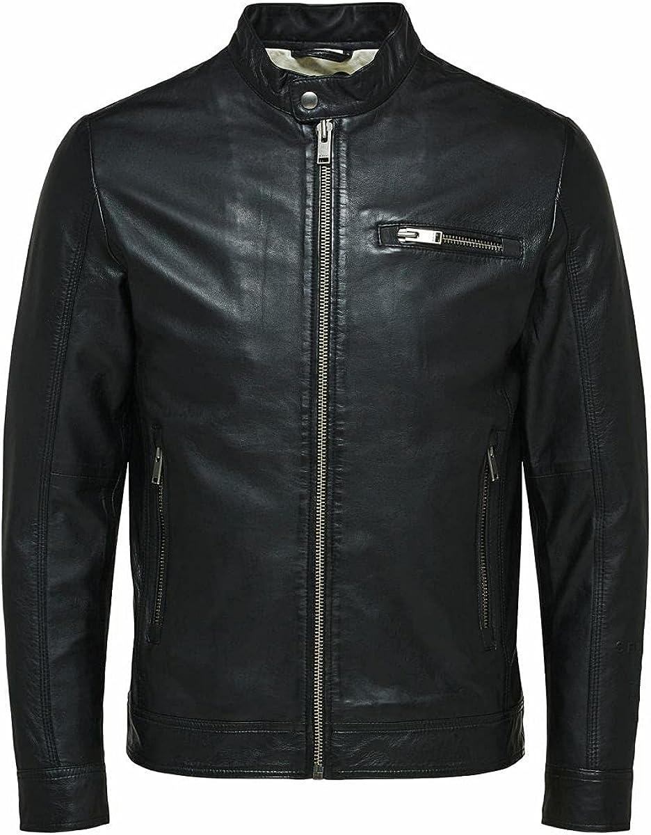 SELECTED HOMME Slhiconic Classic Leather Jkt W Noos Chaqueta de Cuero para Hombre
