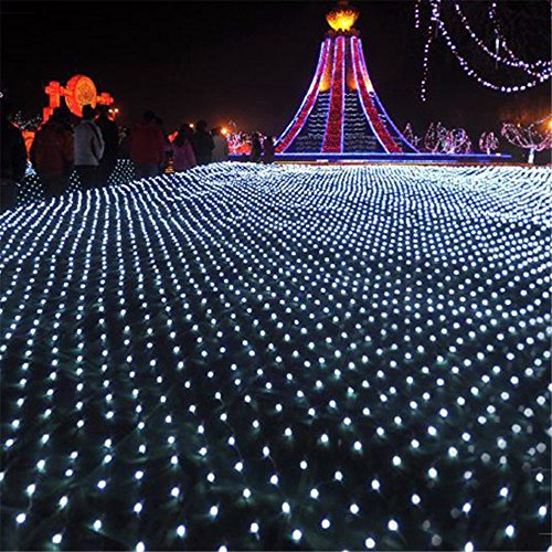 DOCHEER LED Net Mesh Fairy String Decorative Lights 204 LEDs 9.84 Ft x 6.56 Ft Warm White Outdoor Tree-wrap Lights 8 Modes Low Voltage for Christmas Wedding Garden Decorations Home Garden Lights