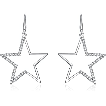 Crystal Rhinestone Sparkling Big Star Diamante Silver Long Drop Trendy Earrings