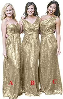 JONLYC Women's A-Line Sequin Long Bridesmaid Dress Wedding Party Dress