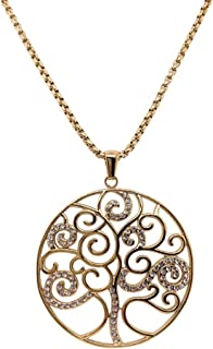 Bevilles Yellow Stainless Steel Pave Crystal Tree of Life Necklace Pendant
