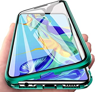 EabHulie Huawei P30 Case, 360 Full Body Transparent Tempered Glass with Magnetic Adsorption Metal Bumper Case Cover for Huawei P30 Green