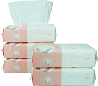 Careboree Extra Thick Dry Wipe, 100% Cotton, Lint-Free Cotton Tissues for Sensitive Skin (5 Pack)