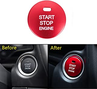 Thor-Ind 1pc Car Engine Push Start Stop Button Cover Cap Trim For Mazda 2 3 6 CX-3 CX-4 CX-5 CX-9 MX-5 Ignition Starter Switch Button knob Sticker (Start Button Cover-Red)