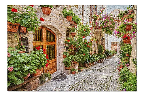 Umbria, Italy - Street Scene in Small Italian Town - Photography A-91554 (Premium 500 Piece Jigsaw Puzzle for Adults, 13x19)