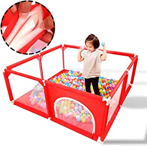 L TSA Safety Gates Red Baby Playpen Security Fence with Playmats and 110 Balls  Portable Baby Play Yard for Kid s  Lightweight Mesh