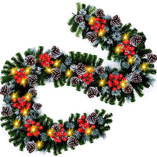 Christmas Garland 9 Ft by 10 Inch with 100 Battery-Operated LED Lights, Decorations with 280 Branches for Festival Indoor Outdoor Home Mantle Fireplace(Warm)