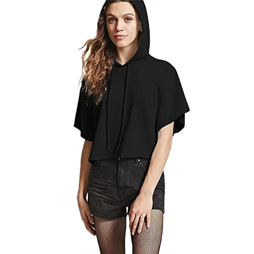 1c9d98ef14691 Womens Short Sleeve Hoodie Lightweight Crop Top Pullover Sweatshirt