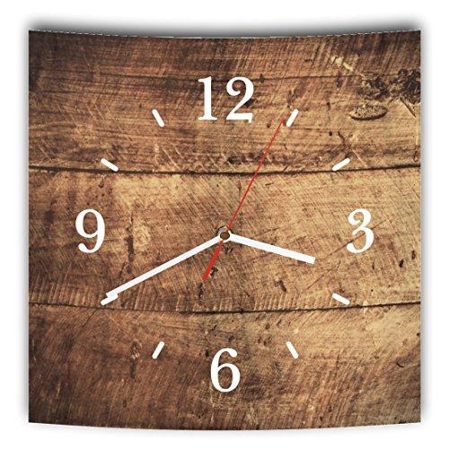 Homeyourself LAUTLOSE Designer Wanduhr mit Spruch Holz Optik braun Bretter rustikal grau weiß modern Dekoschild Abstrakt Bild 29,5 x 28cm