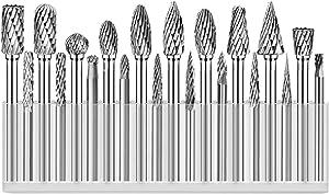 aTourer Tungsten Carbide Burr Set Rotary File Rasp 1/8 & 1/4 Cutting Head Die Grinder Milling Bit 20pcs (Rotary Burr Double Cut 20pcs)