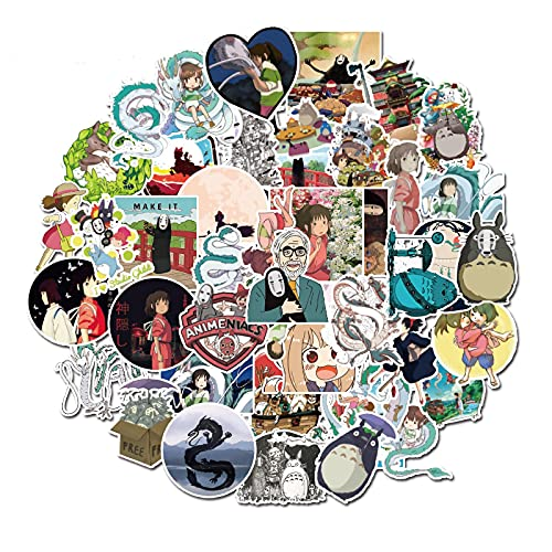 BUCUO Hayao Miyazaki with A Thousand Dragon Cat Cartoon Stickers Luggage Sticker Laptop Guitar Phone 50Pcs