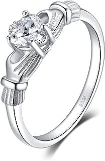 Heart Flower Irish Celtic Claddagh Birthstone Promise Anniversary Wedding Ring 925 Sterling Silver