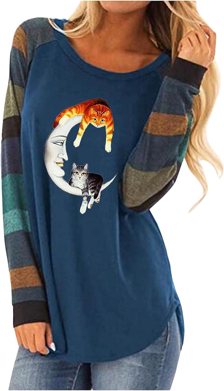 AODONG Halloween Costumes for Women Colorblock Vintage Shirts Halloween Print Crewneck Long Sleeve T-Shirts Casual Tops
