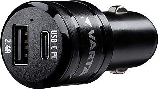 VARTA Car Charger Dual USB Fast 2 Port USB Ladegerät mit USB Type C PD 3.0A, USB A 2.4A, 30W, für schnelles Laden