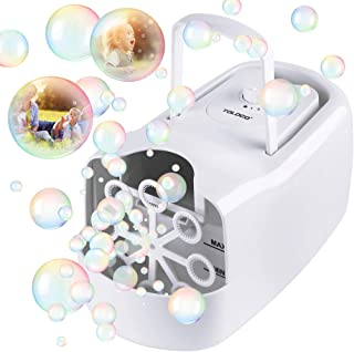 TOLOCO Bubble Machine,Automatic Bubble Blower Portable Bubble Maker for Kids,3000 Bubbles Per Minute,Plug-in or Batteries,for Outdoor/Indoor Party Birthday