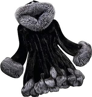 LUKEEXIN Women's Elegant Hooded Long Sleeve Faux Fur Coat