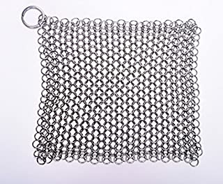 SMYLLS Stainless Steel 316 L Cast Iron Cleaner Chainmail Scrubber for Waffle Iron Pans,Seasoned Pan,Grill - Best Pot Brush...