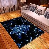 Alfombras Salon Modernas 80X150cm Estrella Azul Negra Alfombra Impresa En 3D Alfombras Lavable Habitacion Alfombras Grandes De Bebe Shaggy Alfombra Pelo Corto De Cocina Baño Antideslizante