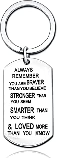 Stainless Steel Key Chain Ring You Are Braver Stronger Smarter Than You Think Pendant Family Friend Gift