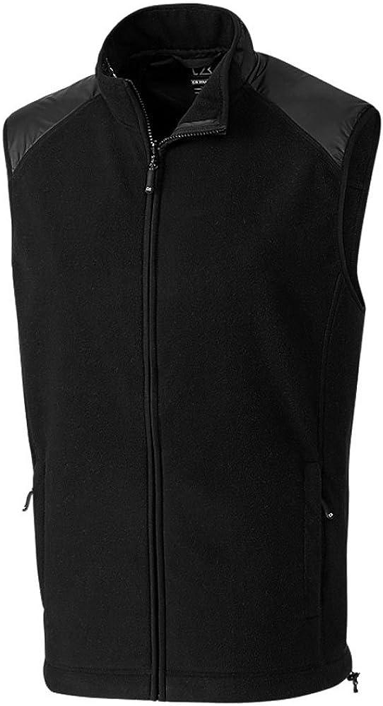Cutter & Buck Big and Tall Men's Cedar Park Full Zip Vest, Black - XLT