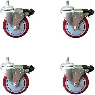 "5 Inch Total Lock Caster - Red Polyurethane Wheel - 1/2""-13 x 1.5"" Threaded Stem Set of 4"