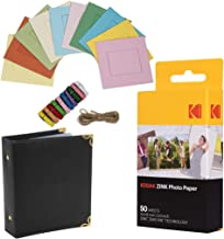 "KODAK 2""x3"" Premium Zink Photo Paper (50 Sheets) + Colorful Square Hanging Photo Frames + Photo Album (Compatible Printomatic)"