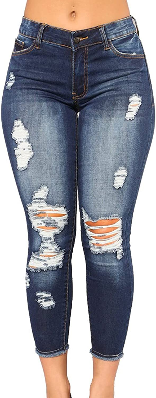 Women's Ripped Classic Boyfriend Jeans Skinny High Waist Denim Ankle Jeans Butt Lift Stretch Slim Fit Jean Pants