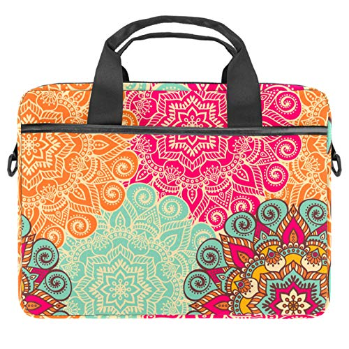 Colorful Boho Floral Cpmputer Carrying Case Unique Printed Compatible with 13-13.3 inch MacBook Pro, MacBook Air,Notebook Computer 11x14.5x1.2in