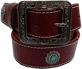 Men's Belt National Style Embossing Leather Belt with Anti-Scratch Pin Buckle,Great for Jeans,Casual& Work Wear(120cm)