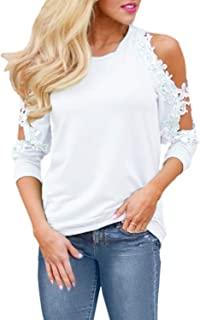 StyleDome Women's Casual Short Sleeve Lace Shirt Cold Shoulder Summer Tops Basic Tee Crochet Blouses
