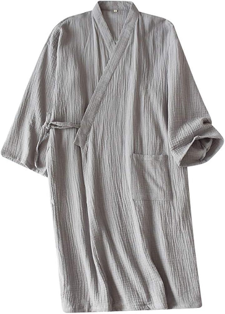 Men's Loose Kimono Robe Cotton Sleepwear yukata Long Sleeve Bathrobe Nightgown