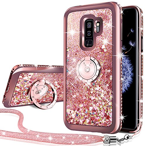Silverback Phone case Compatible with Samsung Galaxy S9 Plus, Girls Women Moving Liquid Holographic Sparkle Glitter Case with Kickstand, Bling Bumper W/Ring Stand Slim for Samsung Galaxy S9 Plus -RD