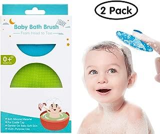 Baby Bath Brush,RONBEI Baby Silicone Bath Brush Cradle Cap,Soft Baby Bath & Shower Brush,2 Pack Kids Toddler Body Silicone Brush for Dry Skin