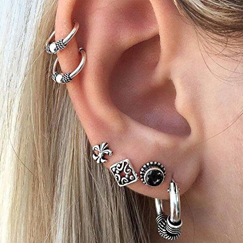 Aimitery Boho Gem Earrings Set Silver Stud Earring Jewelry for Women and Girls