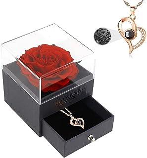 """Ewige Rose Blume Geschenke für Freundin, Schmuck-Geschenk-Box mit """"I Love You""""-Halskette, 100 Sprachen, Rose, Freundin, Ho..."""